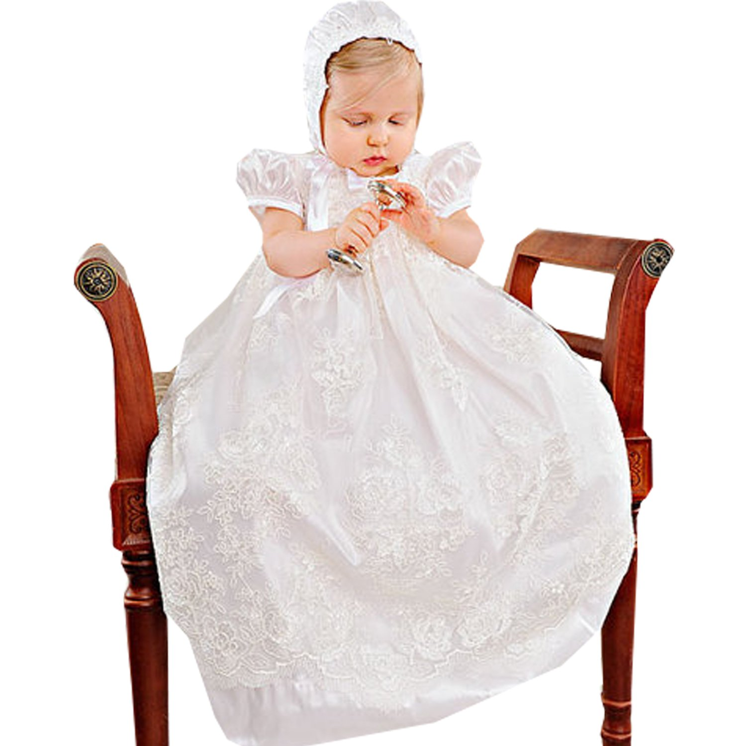 Newdeve Ivory Satin Lace Baptism Gowns Unisex with Ruffle Sleeve (18-24 months)