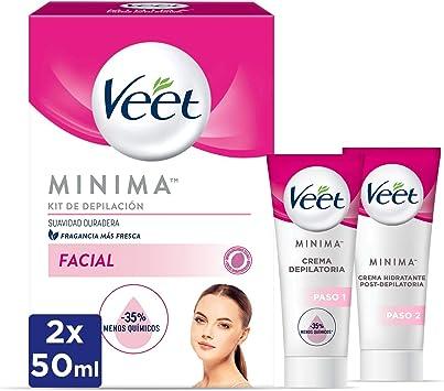 Veet Kit Crema Depilatoria Facial + Crema hidratante post-depilatoria para un acabado óptimo - 2 x 50 ml: Amazon.es: Salud y cuidado personal