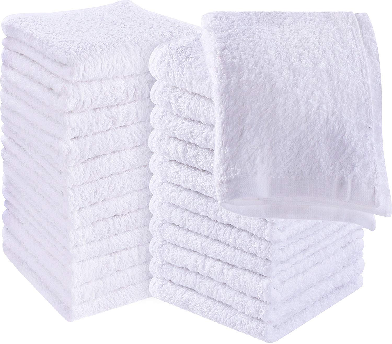 Red Star Rags Fluffy Washcloths/Face Cloths Towel Set (12 Pack, 13'' x1 3''), Premium White Washcloths - Super Soft, Thick, and Absorbent for Face, Hand, Spa & Gym by Red Star Rags