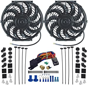 "American Volt Dual 12"" Inch Electric Radiator Cooling Fans Upgraded 90w Motor & Thermostat Sensor Probe Relay Wiring Switch Kit Universal for Cars and Trucks (1/4"" NPT, 180'F On - 165'F Off)"