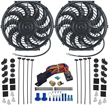 1//2 NPT, 150F On - 135F Off American Volt Dual 12 Inch Electric Radiator Cooling Fans Upgraded 90w Motor /& Thermostat Sensor Probe Relay Wiring Switch Kit Universal for Cars and Trucks