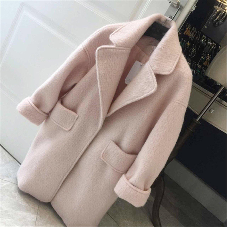 Amazon.com: Stevenurr Popular Winter Women Pink Wool Coat Long Thick Female Overcoat Loose Oversized Cardigan Womens Woolen Jackets Coats: Clothing