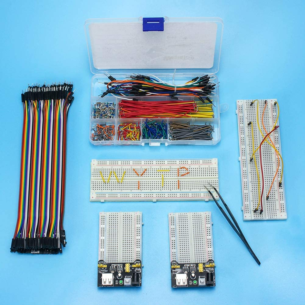 3pcs 20CM 40Pin Jumper Wires Preformed Breadboard Jumper Wires Kit WayinTop Breadboard Jumper Wires Kit with Power Supply Module for Arduino 5pcs Power Supply 4pcs Solderless Breadboard