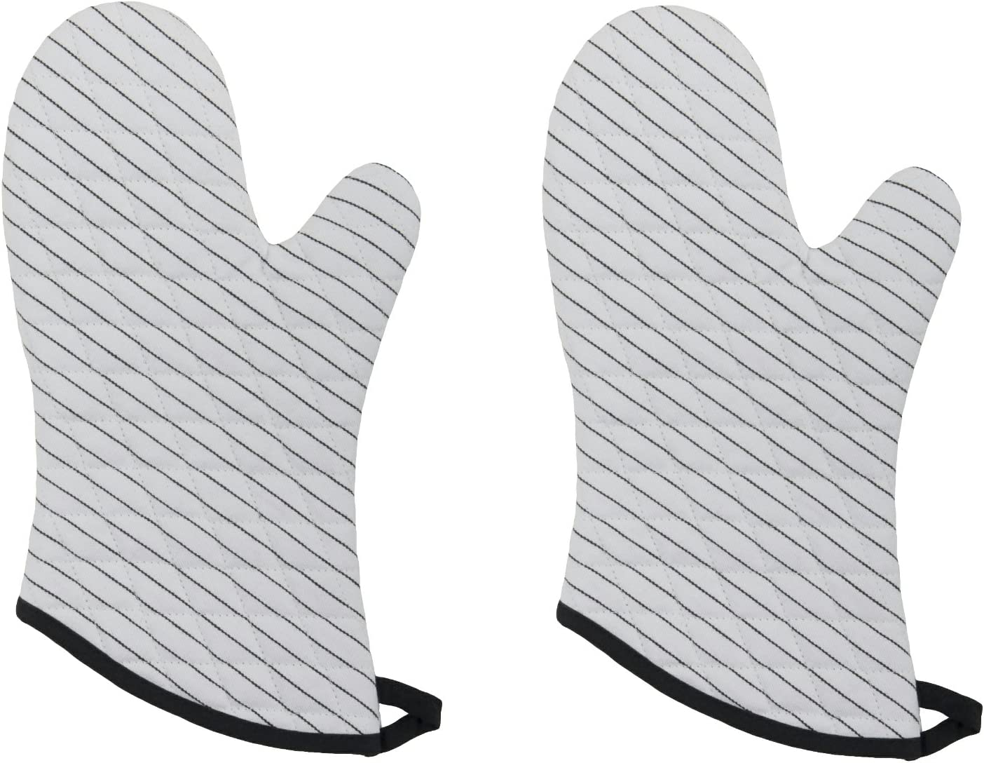 Now Designs Basic Oven Mitts, Pinstripe White, Set of 2