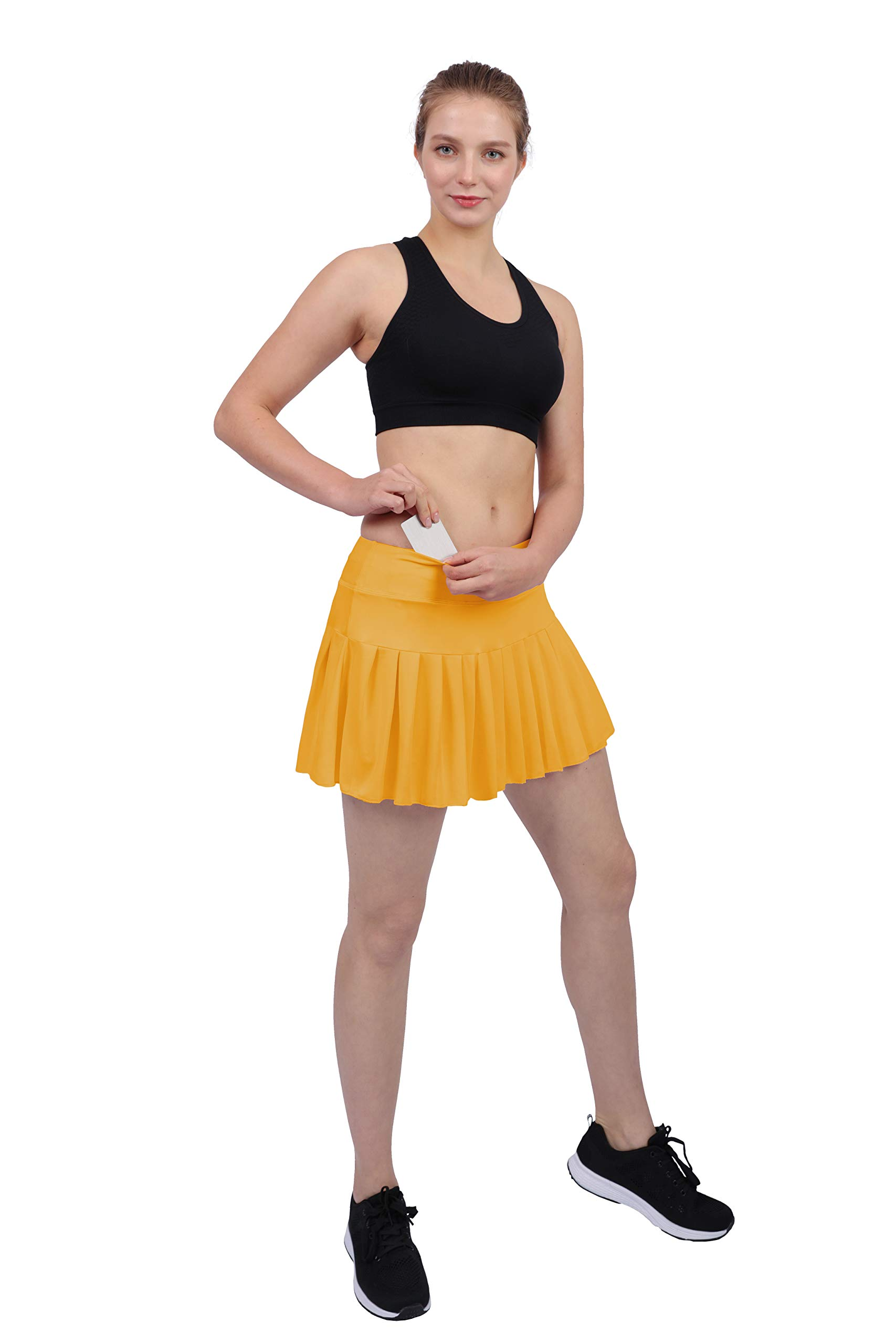 Womens Tennis Pleated Skorts Golf Workout High Waist Biult in Skirts Sports Active Wear with Pockets Yellow by HonourSex