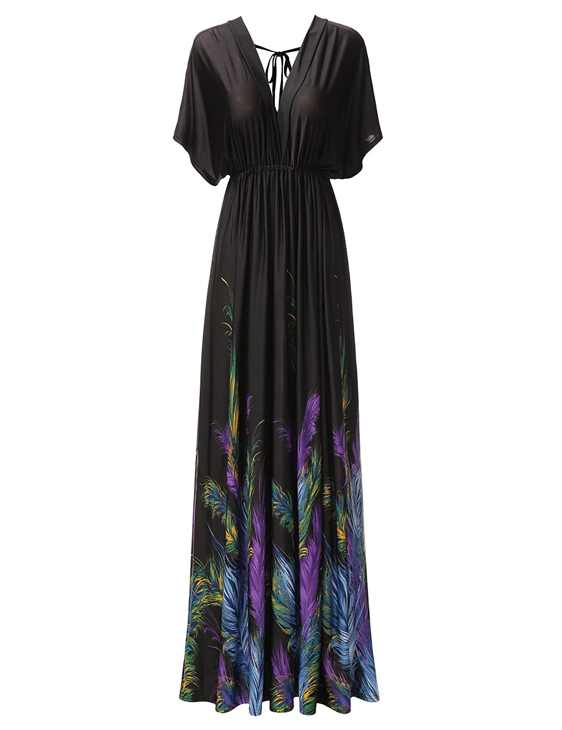 7c2d718550b Bohemian casual print maxi dress with sleeves features loose batwing sleeve  and deep v-neck cut. With plus sizes in 1XL