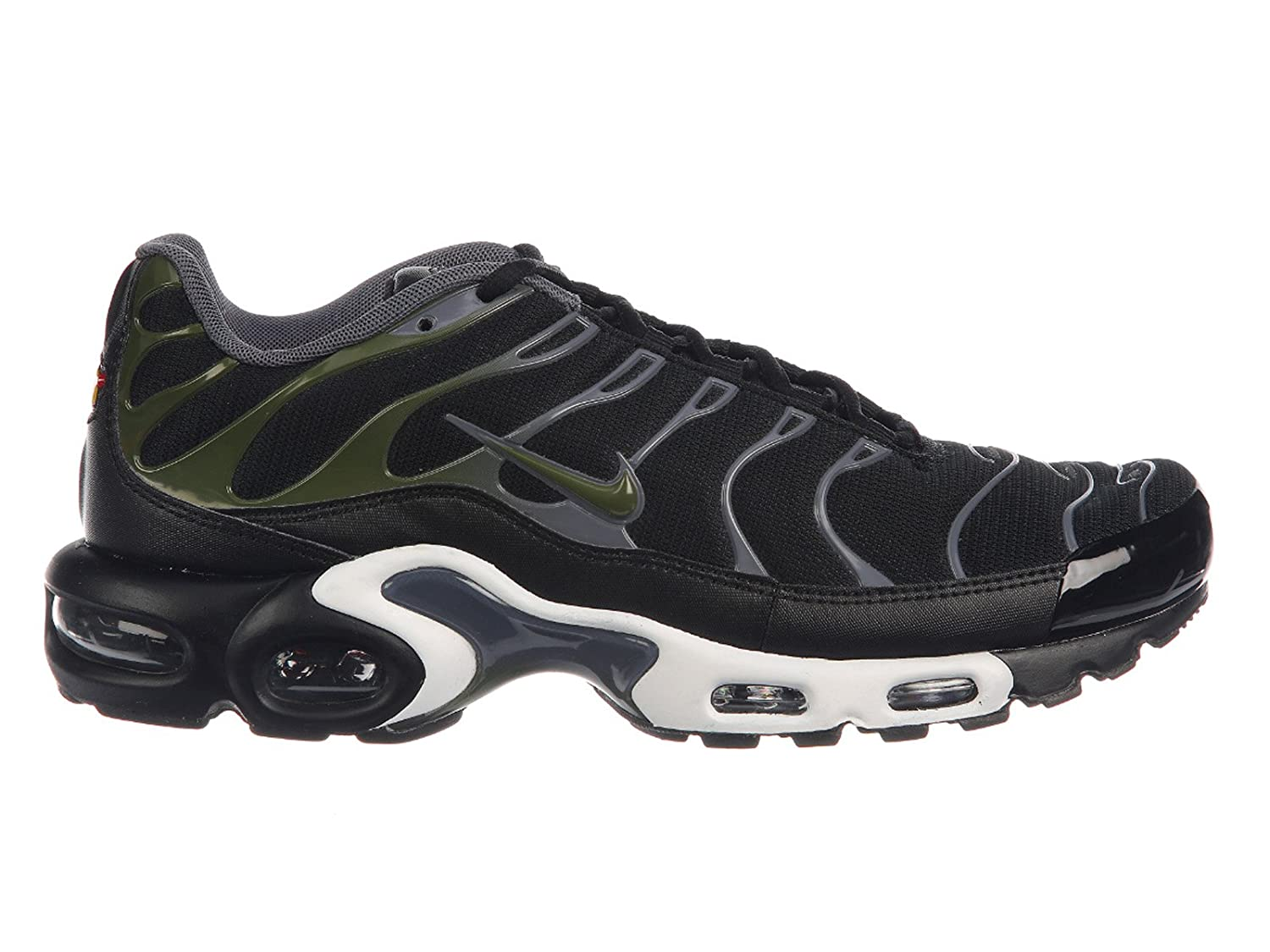 sports shoes 5c443 dc4ff Amazon.com   Nike Men s Air Max Plus Black Legion Green Dark Grey White  Nylon Cross-Trainers Shoes 11.5 M US   Fashion Sneakers