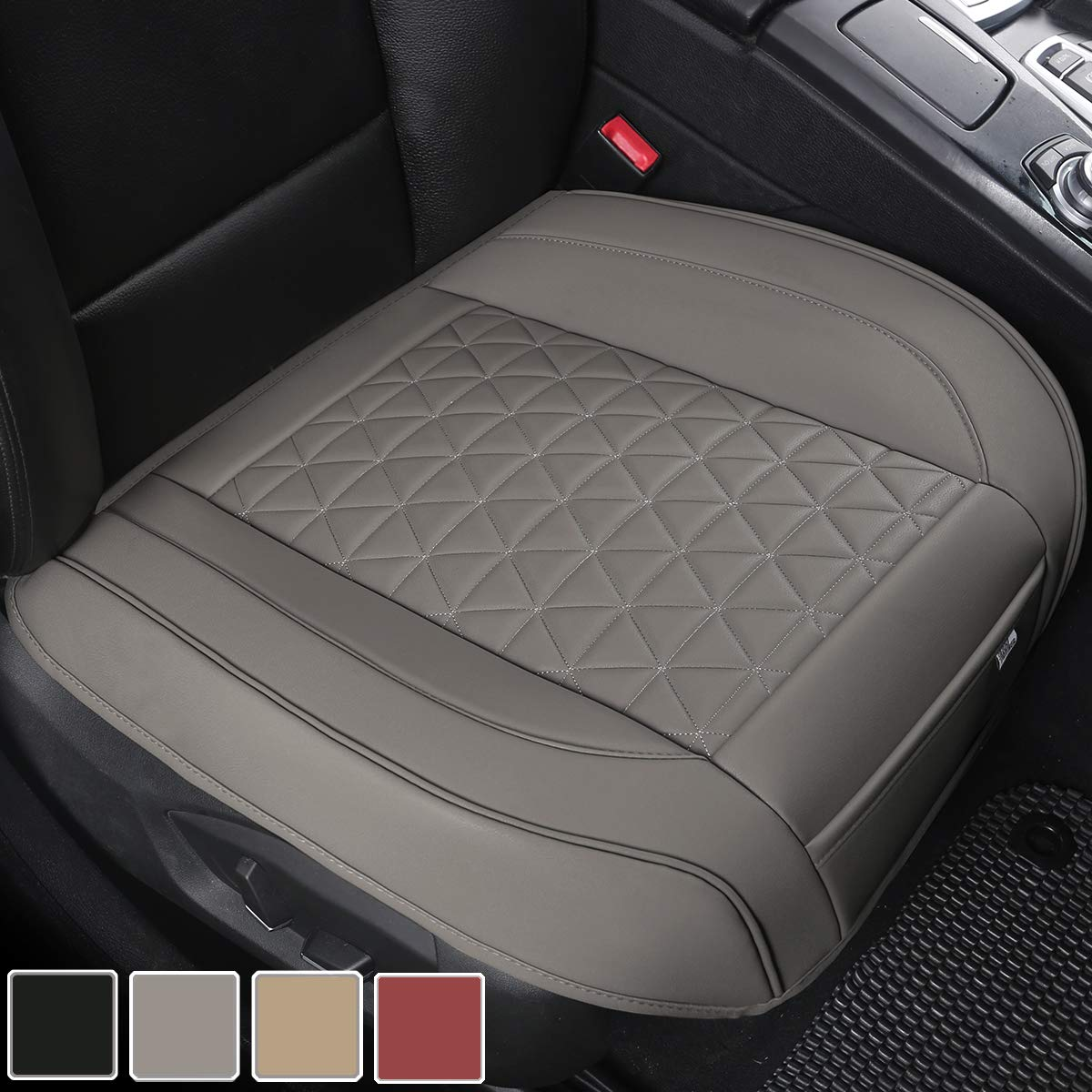 """1Piece,Gray W 21.26/×D 20.86/"""" Front Seat Protector Compatible with 90/% Vehicles,Diamond Pattern Embroidery,Anti-Slip /& Full Wrapping Edge Black Panther PU Car Seat Cover"""