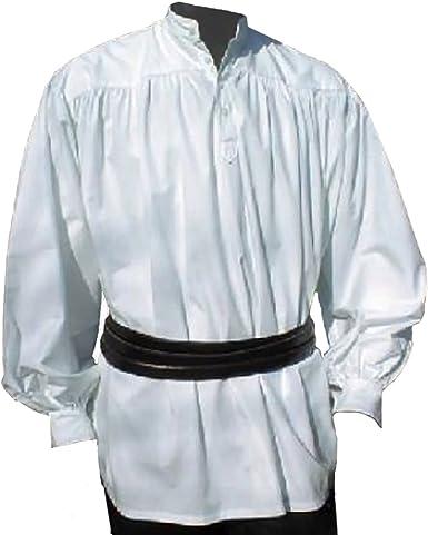 Camisa Medieval con Cuello Blanco y Tapeta Larp Pirata Atuendo Festivo Nuevo - XL: Amazon.es: Ropa y accesorios