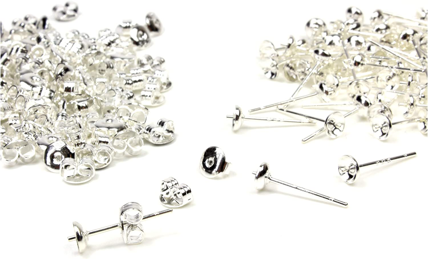 20 Pairs 925 Sterling Silver Earrings Posts Ear Stud Pin Jewelry Supplies