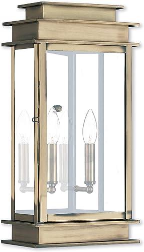 Livex Lighting 2018-01 Princeton 2 Light AB Outdoor Wall Lantern, Antique Brass