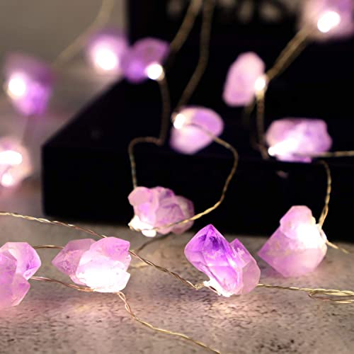 Impress Life Nature Amethyst Rock String Lights Decoration, Pink Purple Crystal Raw Stone Decoration for Mother s Day Tent Wedding Valentine s Day Present Bedroom Christmas Party Birthday Ornament