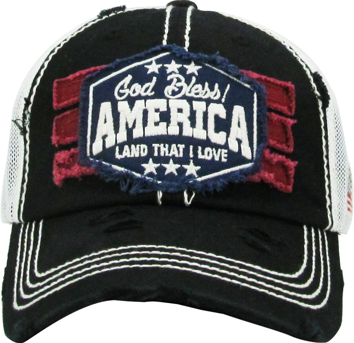 feeb2127b3e KBETHOS American Spirit Collection USA Distressed Vintage Baseball Cap Dad  Hat Adjustable Unconstructed KBVT-1066 BLK