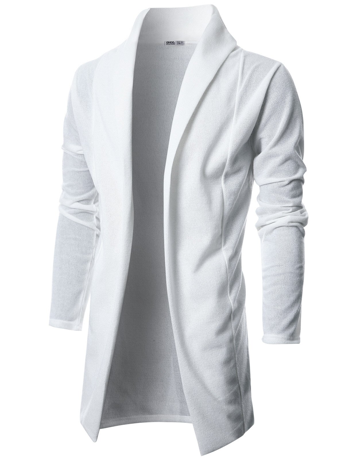 Ohoo Mens Long Sleeve Draped Lightweight Open Front Shawl Collar Longline Cardigan/DCC026-IVORY-L