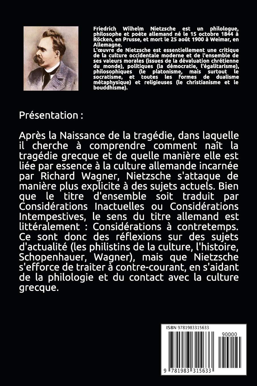Considérations inactuelles (Intégrale  les 4 livres) (French Edition)