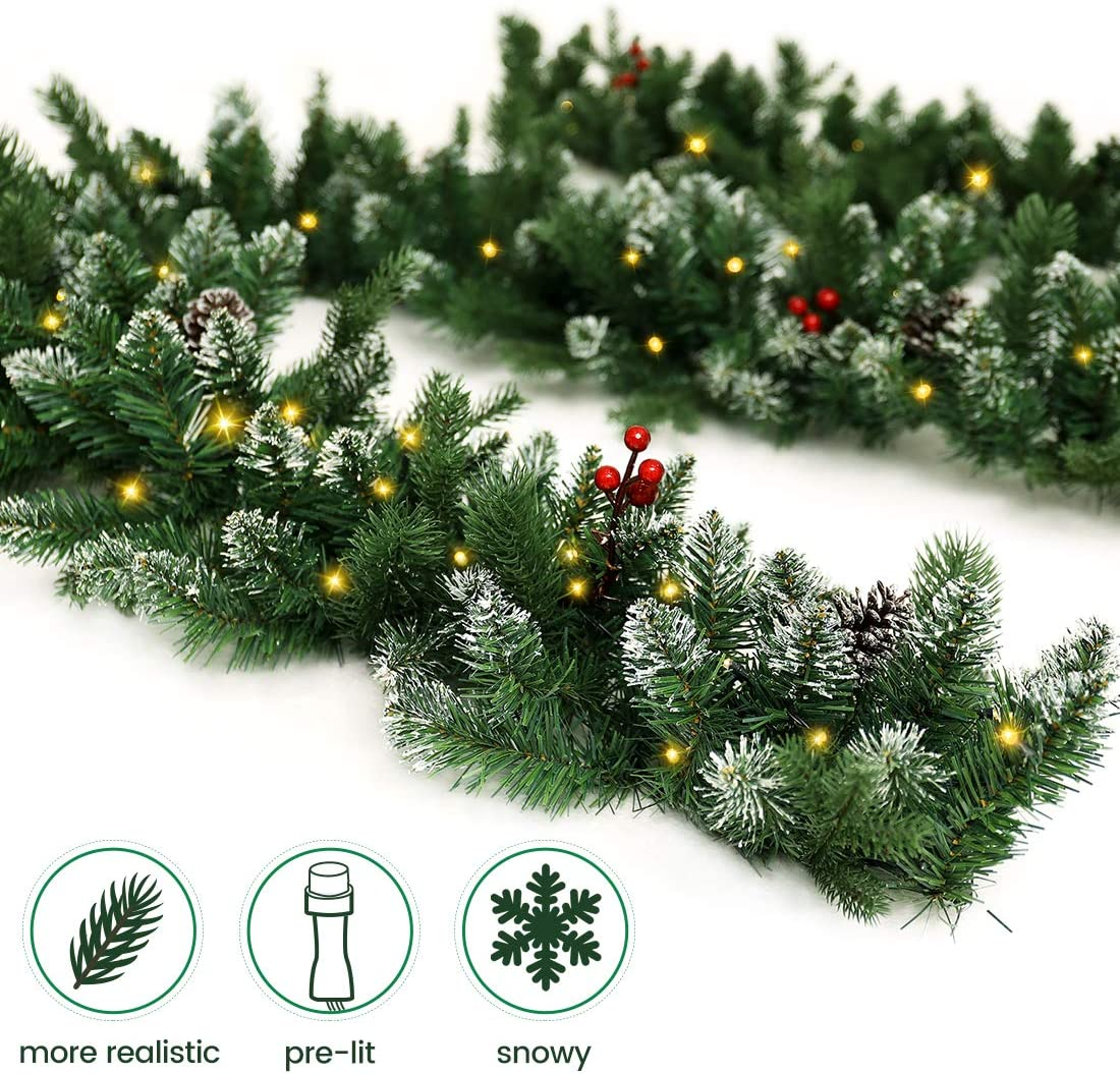 ANOTHERME Pre-Lit Christmas Garland 9 Ft Feel Real Snowy White 50 LED Lights Pine Cone