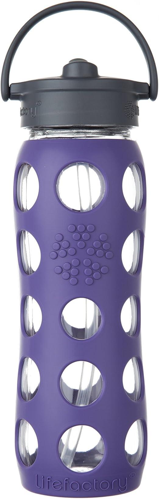 Lifefactory Botella de Cristal, Straw Cap, Vidrio, Morado, 6.5 x ...
