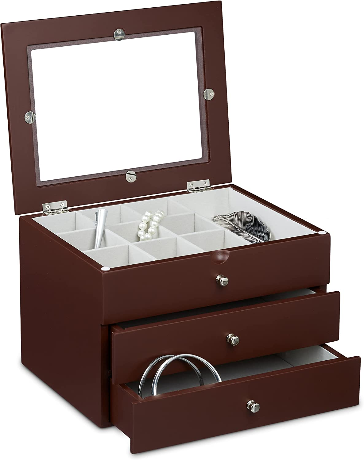 Year-end annual account Relaxdays Size: 17 x 25.5 21 Windo w cm Jewelry Elegant Super popular specialty store Chest