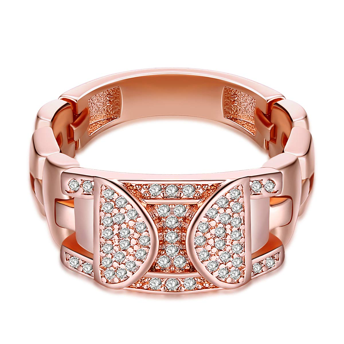 Korean Style Crystal Watch Shape Band Ring (Rose Gold Plated, 7)