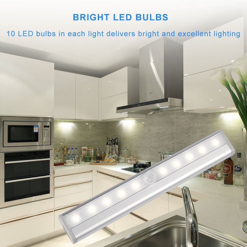 Motion Sensor Closet Lights RUOYIER Portable Wireless 10-LED Stick-on anywhere Cabinet motion sensing light with Magnetic Strip for Wardrobe Stairs Step Night Light Bar(Battery Operated 3-pack) by Ruoyier (Image #5)