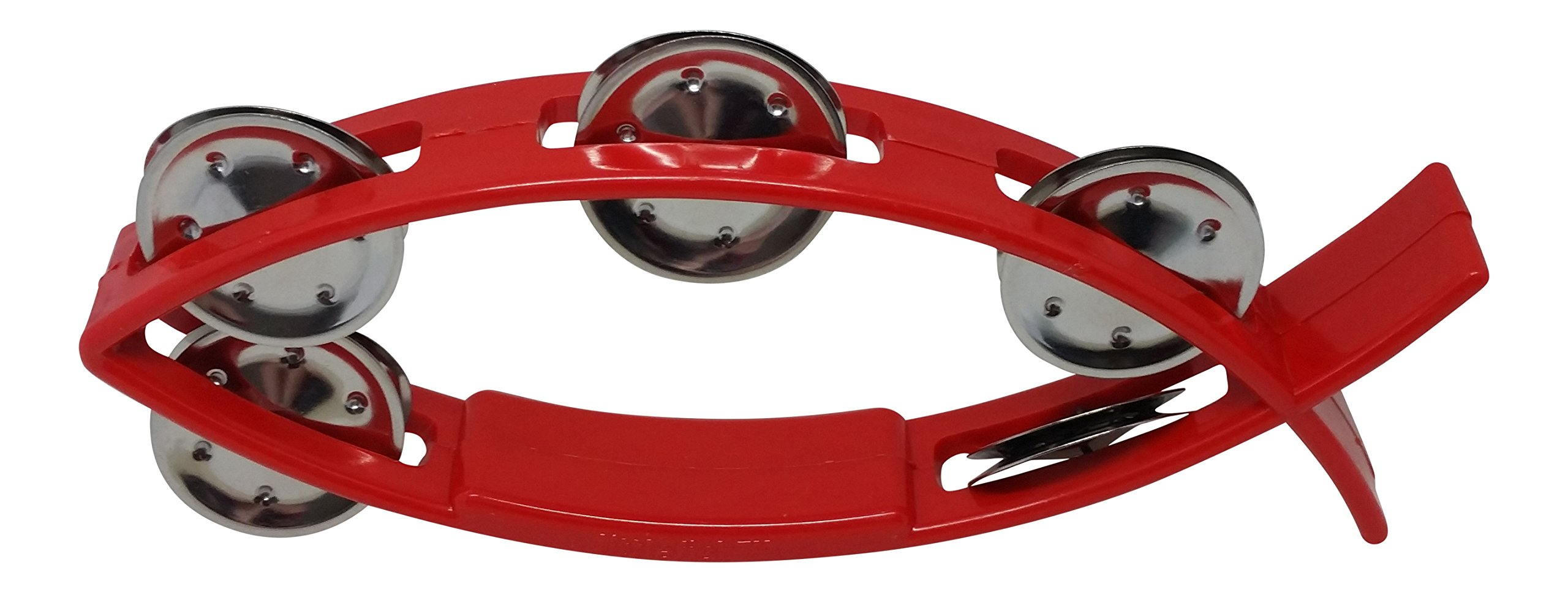 Littlefish RB183R Tambourine for Kids 8 x 3 Inches with 5 Pairs of Single Row Stainless Steel Jingles Red