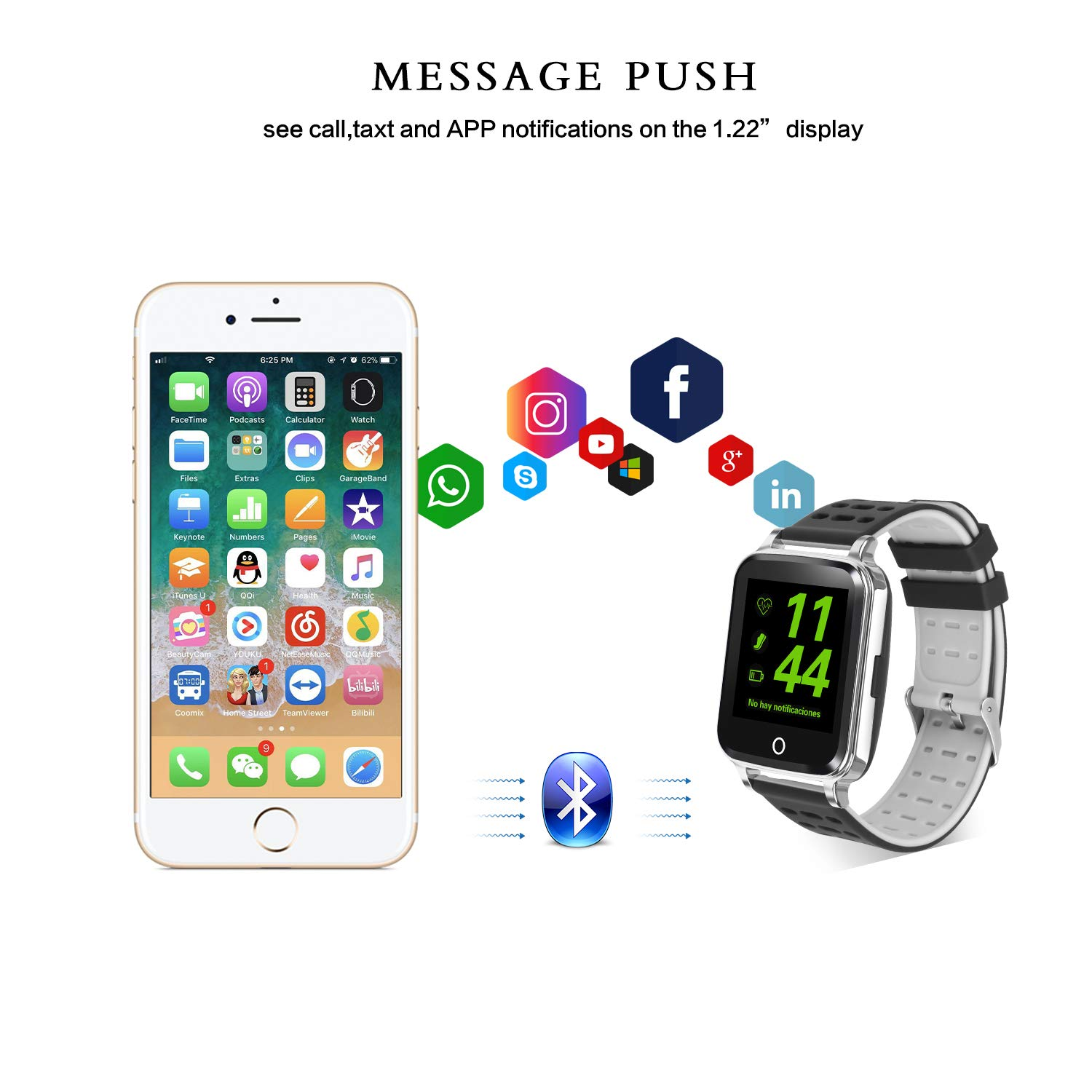 DOROIM Smart Watch, Fitness Tracker HR with Heart Rate Monitor, Bluetooh Activity Tracker Watch with Blood Pressure, Sleep Monitor, Smart Watches Compatible with Android Phone& iOS iPhone for Men Boy