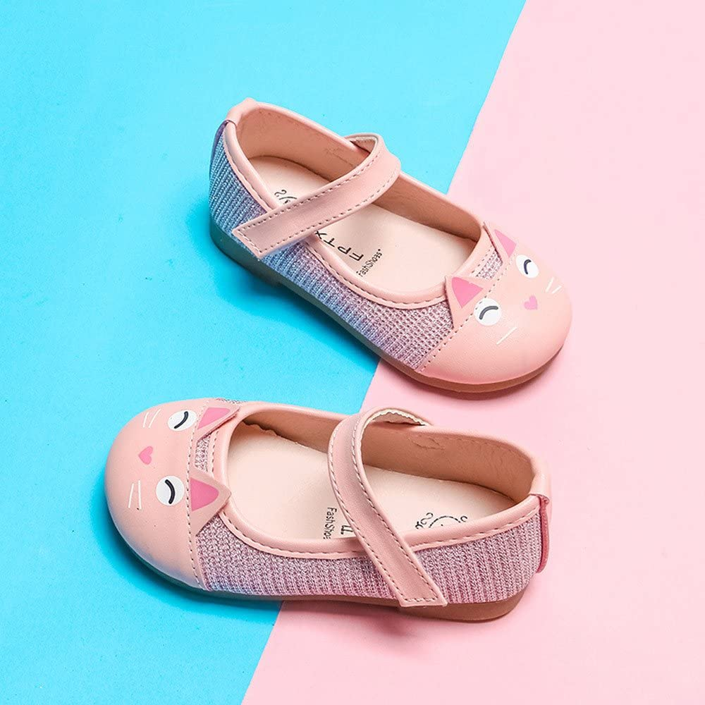 Deloito Toddler Baby Girls Children Cute Cartoon Cat Leather Single Shoes Princess Shoes Fashion Sandals