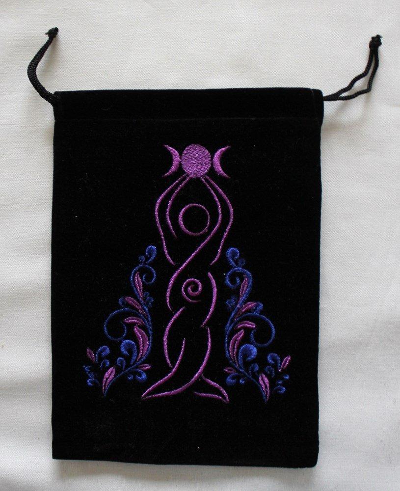 Goddess Unlined Black Velvet Tarot Bag Kheops