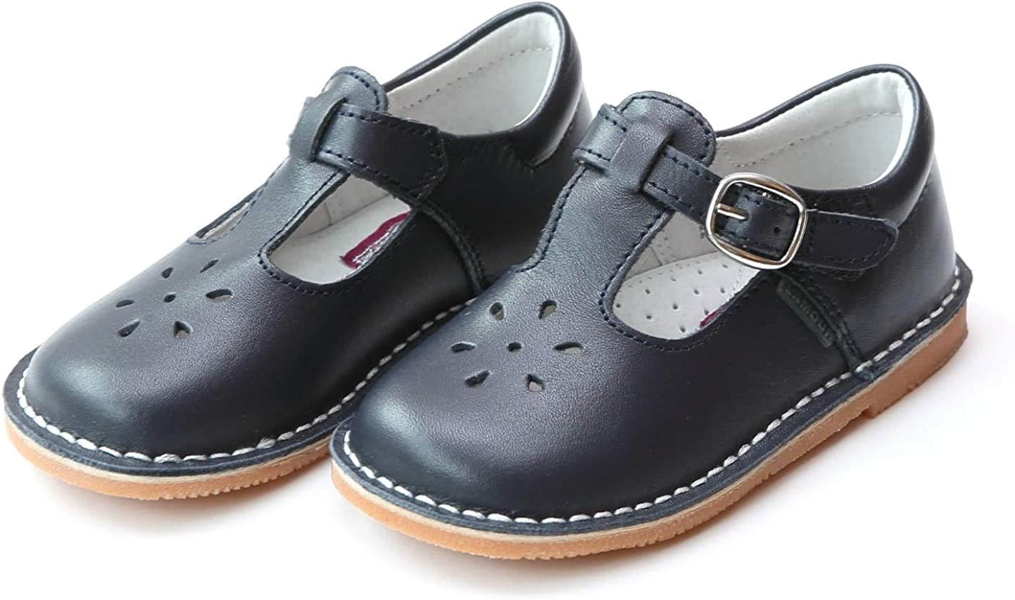 LAmour Girls T-Strap Mary Janes Navy Leather School//Dress Shoes