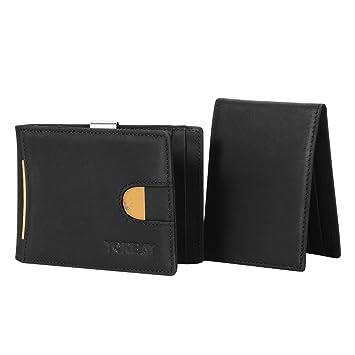 Yorbay Cartera tarjetero Pequeña para Hombre 14 tarjetas con función RFID negro: Amazon.es: Equipaje