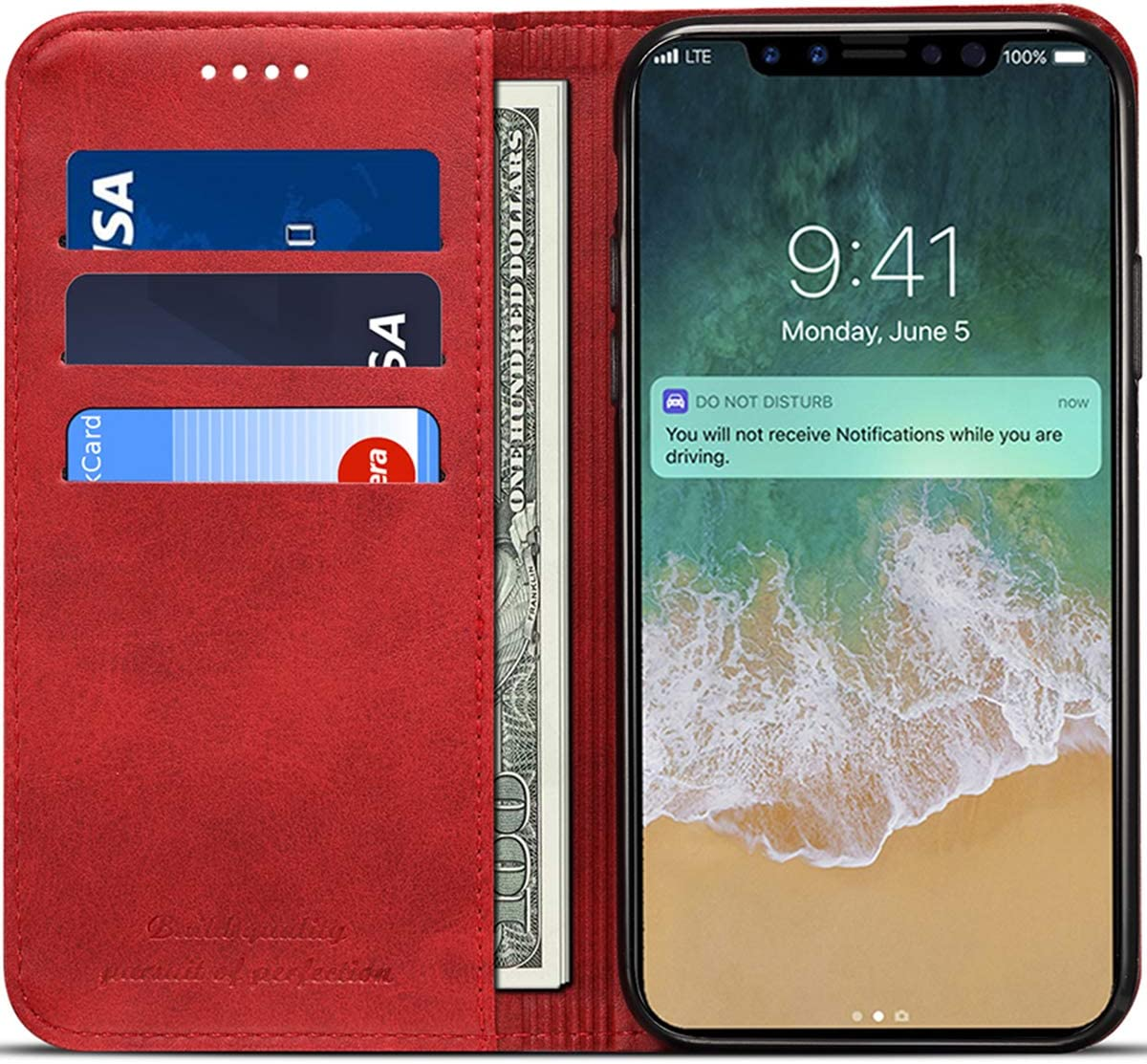 Wallet Case Compatible 2018 iPhone Xs/ 2017 iPhone X, PU Leather Wallet Case Folio Flip Cover, Red, 5.8 inches