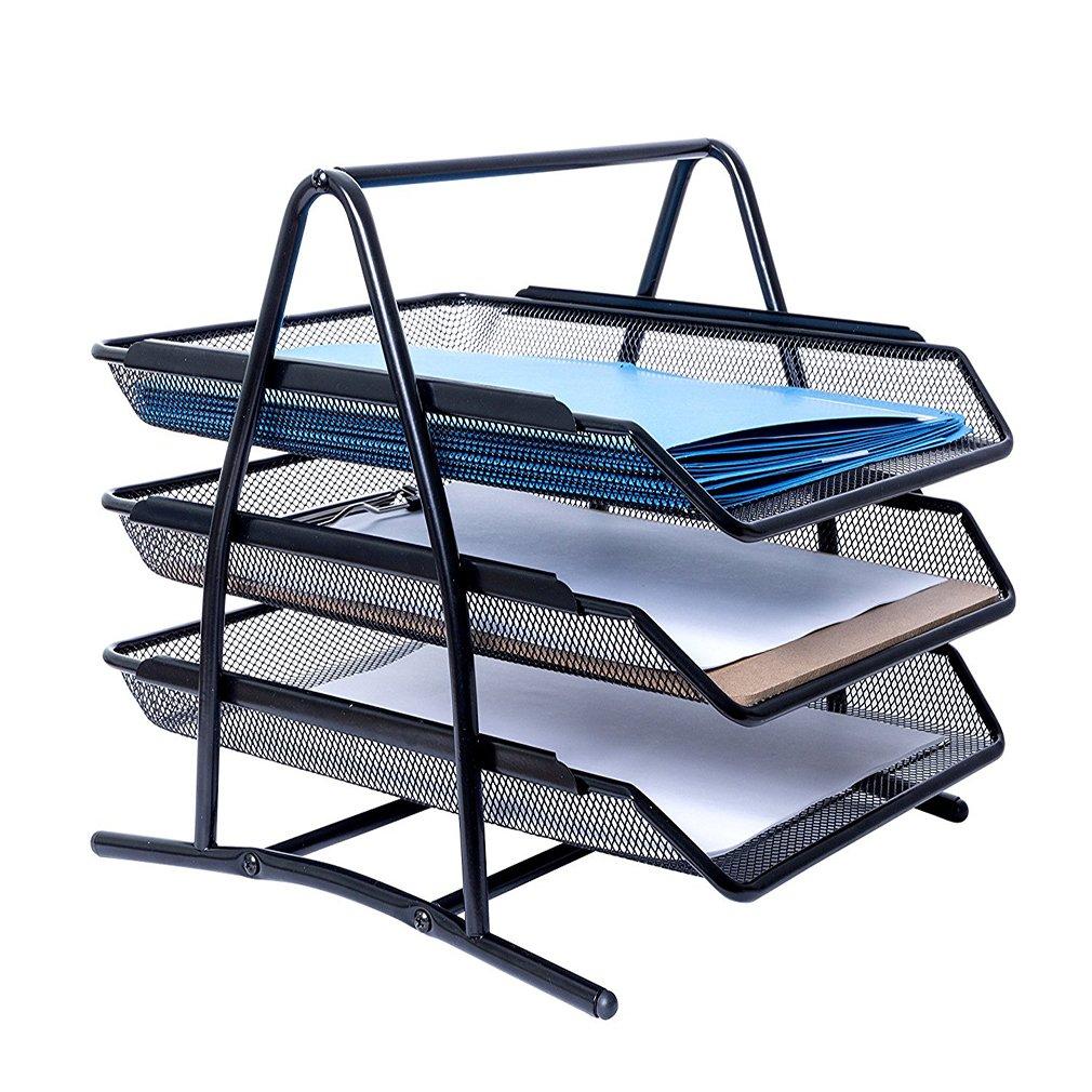 MONBLA 3-Tier File Rack Metal Mesh Letter Tray Scratch-Resistant Stackable Foolscap Rack Desk Document Organizer