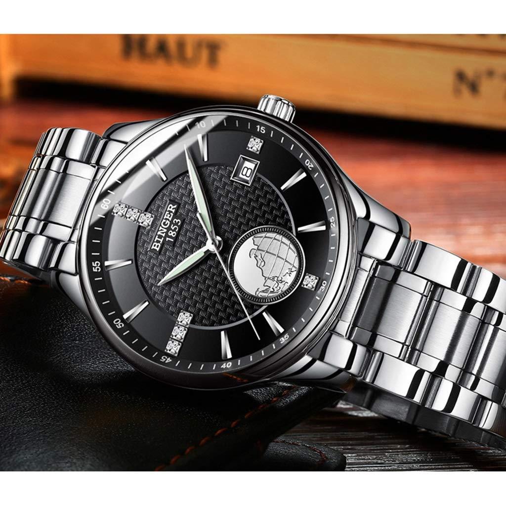 BINGER herrklocka, automatiska mekaniska klockor vattenresistens multifunktion armbandsur affärsstil med datumvisning 1105G Steel Strap - Silver Black