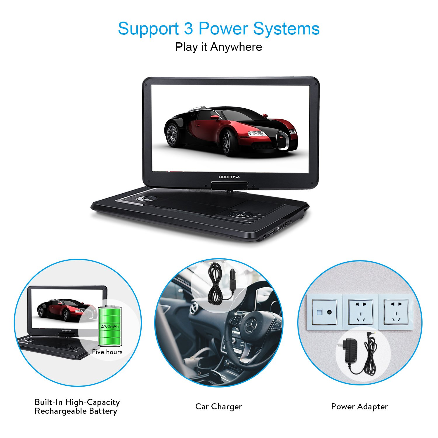 BOOCOSA Portable DVD Player with 270° Swivel TFT LCD Screen, Remote Control, Built-in 5 Hours Rechargeable Battery, Car Charger, AV Cable, Carrying Bag, CD/MMC Card Slot/USB (15.6 Inches, Black) by BOOCOSA (Image #4)