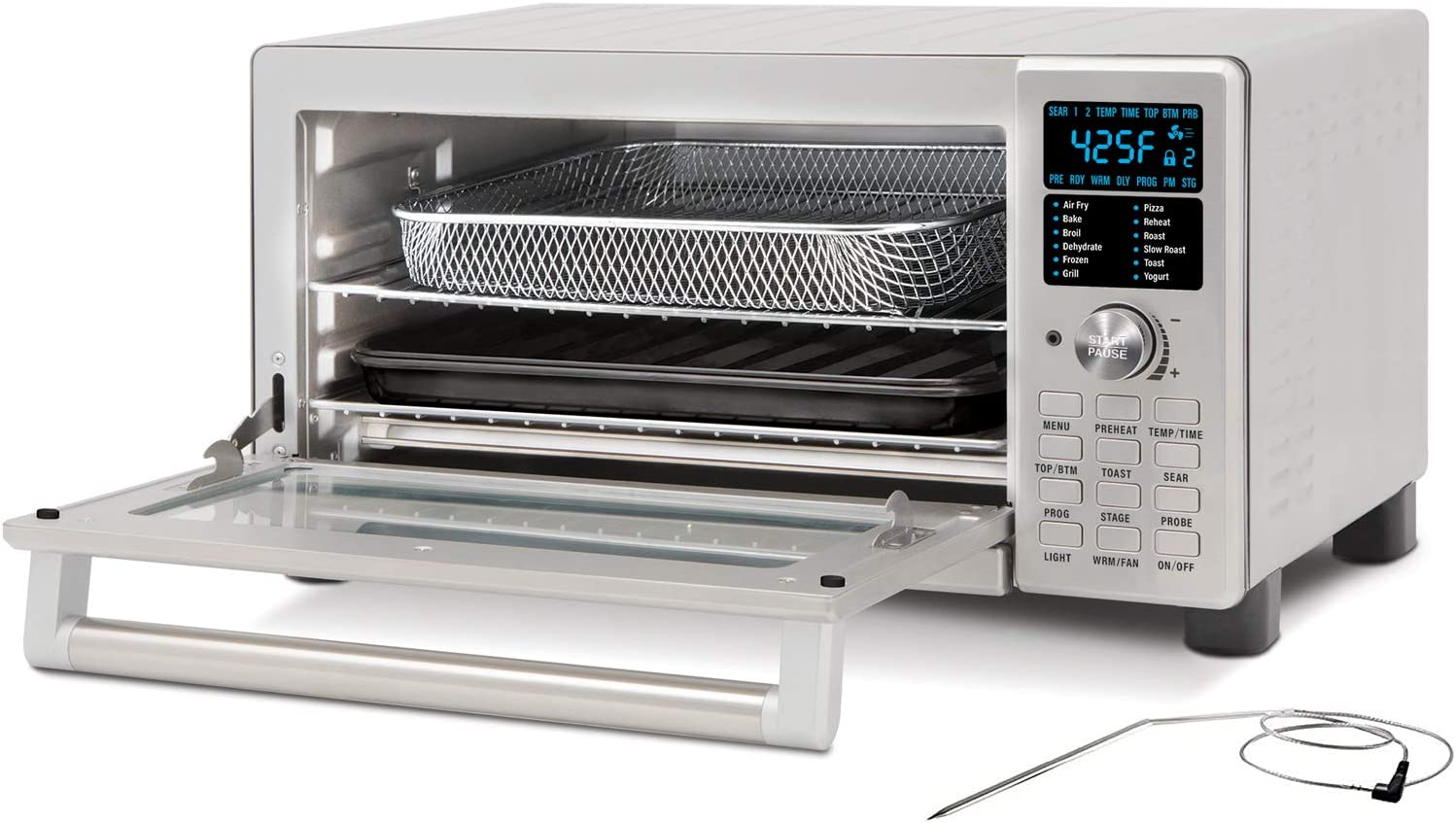 NUWAVE BRAVO XL 1800-Watt Convection Oven with Crisping and Flavor Infusion Technology (FIT) with Integrated Digital Temperature Probe for Perfect Results; 12 Programmed Presets; 3 Fan Speeds; 5-Quartz Heating Elements; Precision Temperature Control from 100F to 450F in 5F increments; Cook up to a 10 LB. Chicken, 13 inch Pizza, or 9 Slices of Toast; Air
