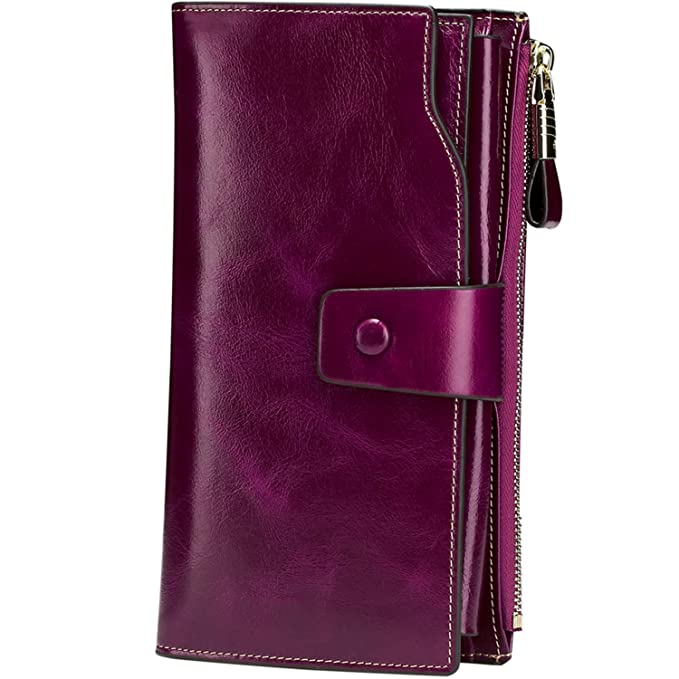 Itslife Women's RFID Blocking Large Capacity Luxury Wax Genuine Leather Cluth Wallet Ladies Card Holder (Fuchsia RFID Blocking) best women's RFID wallets