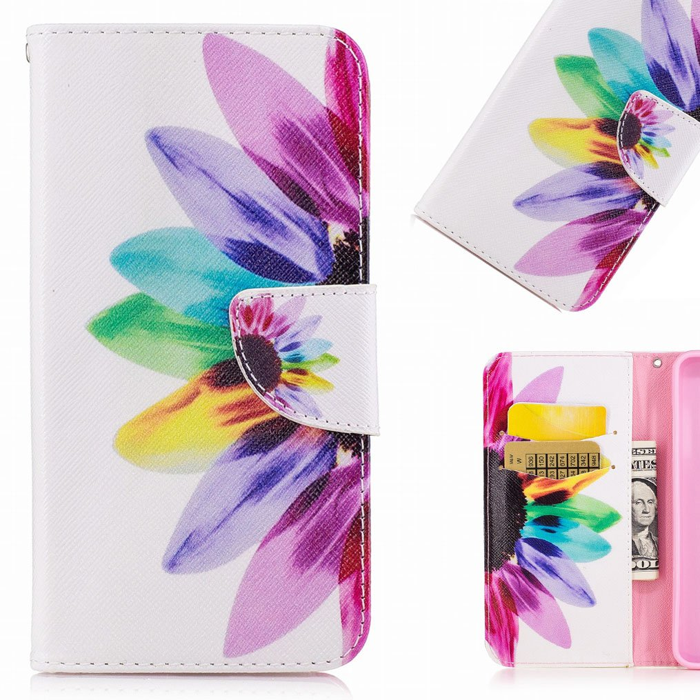 LEMORRY Huawei Mate 20 Lite Case Leather Flip Wallet Pouch Slim Fit Bumper Protection Magnetic Strap Stand Card Slot Soft TPU Cover for Huawei Mate 20 Lite, Colorful Flower lmyeu3623