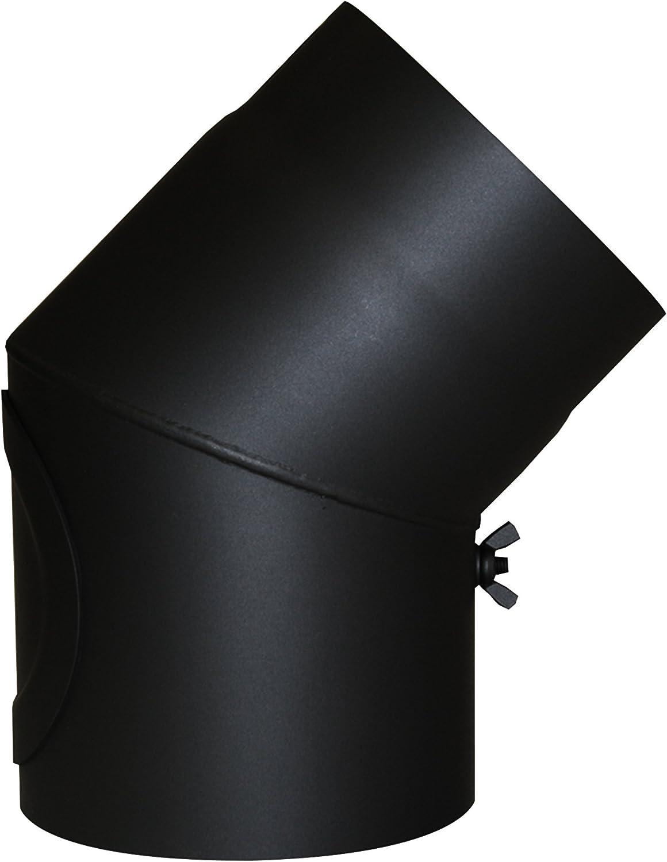 Kamino - Flam – Codo con válvula y puerta para chimenea de leña, Codo para estufa de leña, Codo vitrificado – resistente a altas temperaturas – Negro, 150 mm/45°C