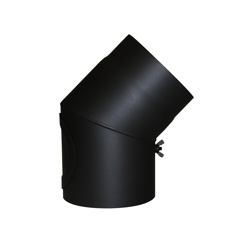 Kamino - Flam – Codo con válvula y puerta para chimenea de leña, Codo para estufa de leña, Codo vitrificado – resistente a altas temperaturas – Negro, 150 mm/45°C Codo para estufa de leña 150 mm/45°C Kamino Flam