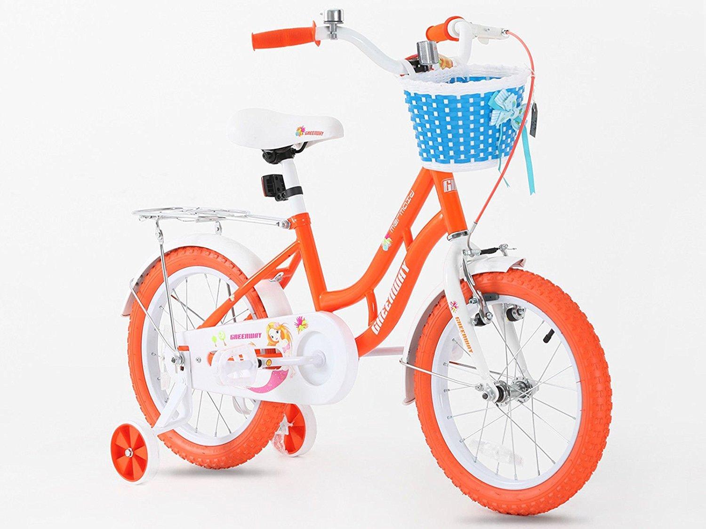 Princesa Naranja de bicicletas en tamaño 16 pulgadas ajustable extraíble estabilizadores + frontal azul cesta