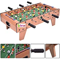 TEMSON 27'' Football Table Top, Foosball Soccer Game Toy Set with Wooden Frame and Four Rods for Kids, Family and Party Table Soccer Family Game