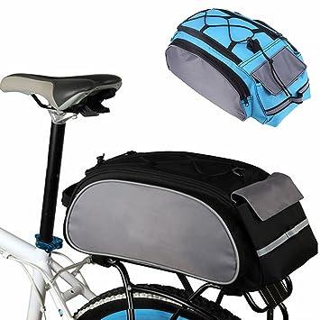 Alforja trasera para bicicleta, gran capacidad, multifunción, bolsa para bicicleta, asiento trasero, cesta de transporte, alforja, color gris, tamaño ...
