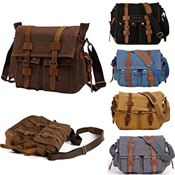 New Men s Vintage Canvas Leather Satchel School Military Shoulder Bag  Messenger (Coffee)  Amazon.co.uk  Luggage abf01954ce