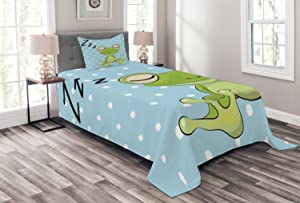 Ambesonne Cartoon Bedspread, Sleeping Prince Frog in a Cap Polka Dots Background Animal World Design, Decorative Quilted 3 Piece Coverlet Set with 2 Pillow Shams, Twin Size, Blue Green