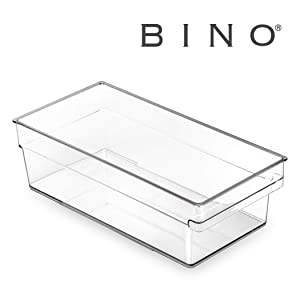 BINO Clear Plastic Storage Bin with Built-In Pull Out Handle - (Shallow, Medium) - Storage Bins for Home, Kitchen, and Bath - Refrigerator, Freezer, Cabinet, Closet, Pantry Organization and Storage