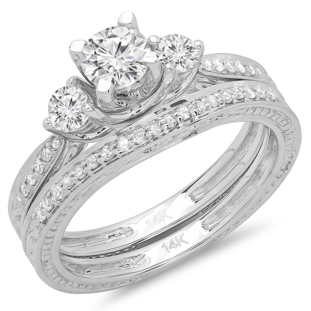 1.00 Carat (ctw) 14K White Gold Round Diamond Ladies Vintage 3 Stone Bridal Engagement Ring With Matching Band Set 1 CT (Size 7)