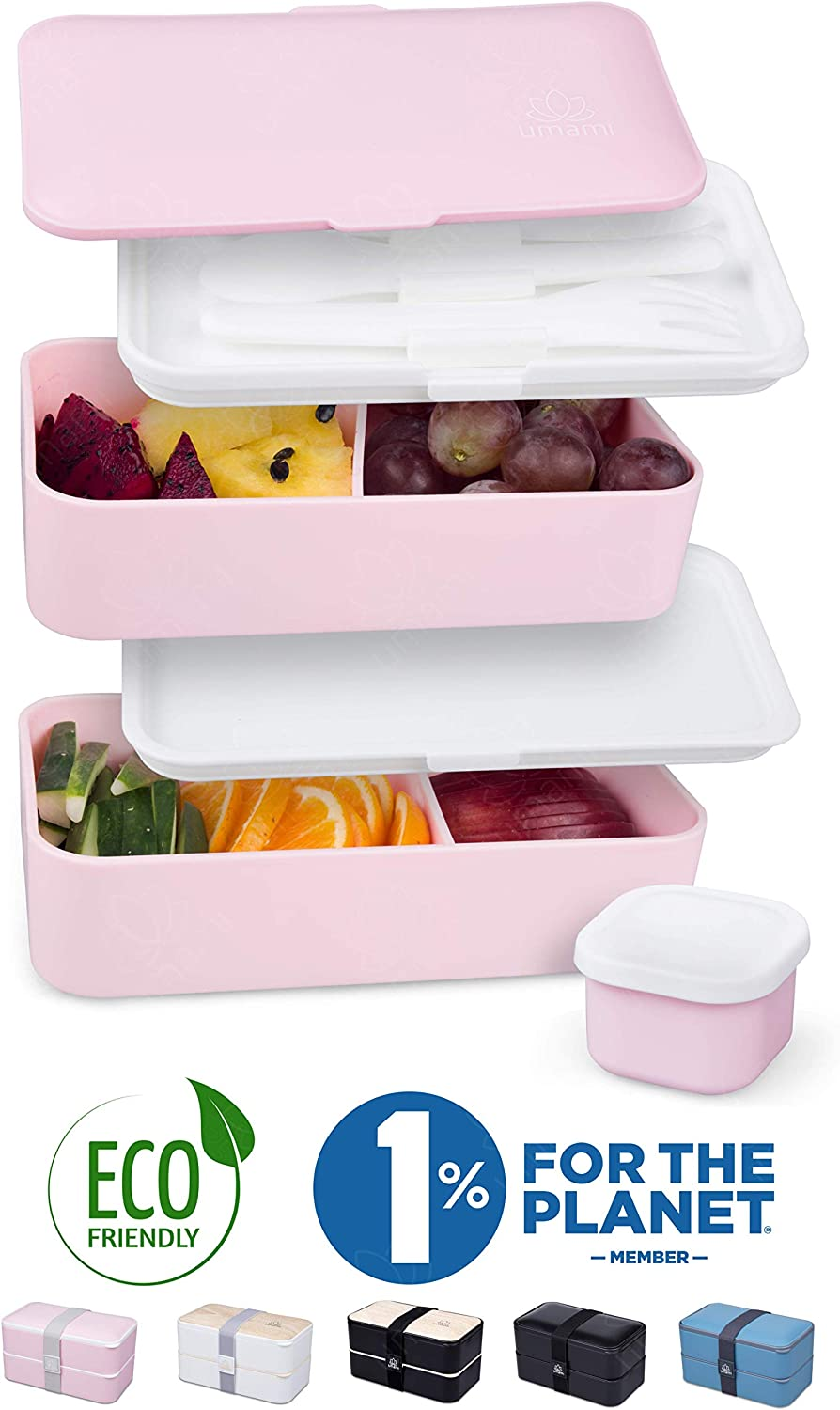 Umami ⭐ Bento Lunch Box for Adults/Children - Includes 1 Sauce Pot & Cutlery 3 Pieces - Japanese Hermetic Box - 2 Compartments - Meals at Home/Work - Meal Prep - Micro-Waves & Dishwasher & Freezer