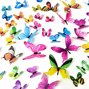 Removable 3D Butterfly Decals,60 Pcs 5 Colors DIY Wall Mural Stickers Art Decor for Kids Baby Boys Girls' Room Home Nursey Decoration (5colors)