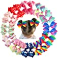 24Pcs Pinwheel Hair Bows for Girls 4.5 Inch Colorful Grosgrain Ribbon Rainbow Bows Alligator Hair Clips Pigtail Bows in Pairs for Baby Girls Toddlers Kids Children