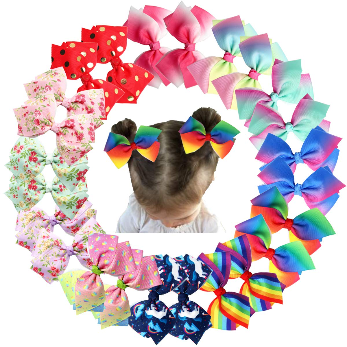 24PCS 4.5Inch Bows for Girls Boutique Grosgrain Ribbon Rainbow Hair Bow Alligator Hair Clips Pigtail Bows Unicorn Hair Clips for Baby Girls Toddler Kids Teens Children in Pairs